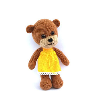 stuffed teddy bear, crocheted brown bear with yellow skirt, sunshine, baby toy, stuffed animal amigurumi toy for children, bear doll