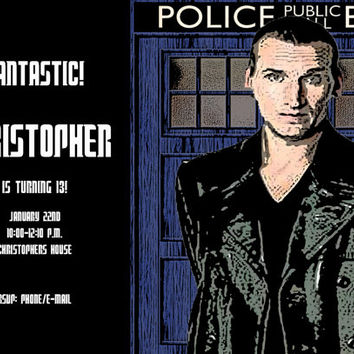 Doctor Who (2005-2014) Printable Birthday Invitation 5 x 7/4 x 6 Choose Your Doctor!