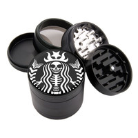 "Star Skull Design - 2.25"" Premium Black Herb Grinder - Custom Designed"