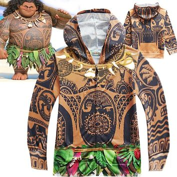 Moana Maui Boy's Hoodie Cartoon Coat Children Sweatshirt Baby Boys Hoodies Casual Kids Jacket Outerwear Boys Top Tees