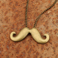 Necklace-beard charm necklace in antique bronze, cool gift for boyfriend, friends