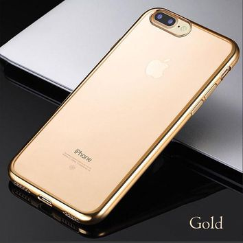 Luxury Plating Ultra Thin Clear Soft TPU Phone Cases For iPhone 7 6 6s Plus 5 5s SE Back Cover Crystal Rubber GEL Silicone Funda