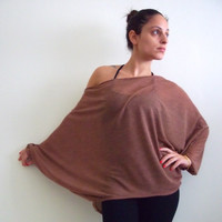 Sheer Knitted Top Dolman oversize brick color knitted top