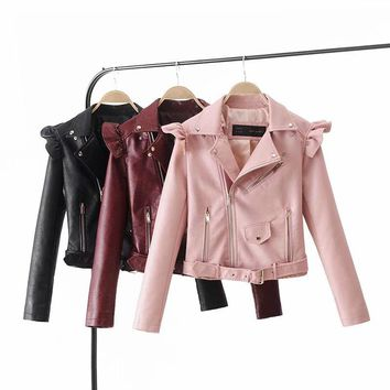 Autumn Women suede motorcycle jacket Slim brown full lined soft faux Leather female coat epaulet zipper