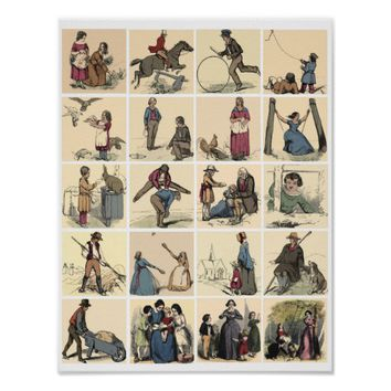 Victorian People Working Playing Picture Book Art Poster