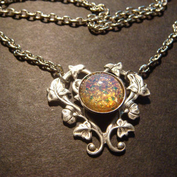 Fire Opal Heart Vine Necklace in Antique Silver by CreepyCreationz