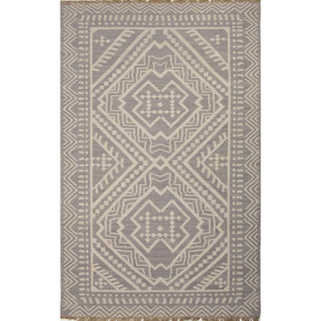 Jaipur Rugs FlatWeave Tribal Pattern Gray/Ivory Wool Area Rug BAT04 (Rectangle)