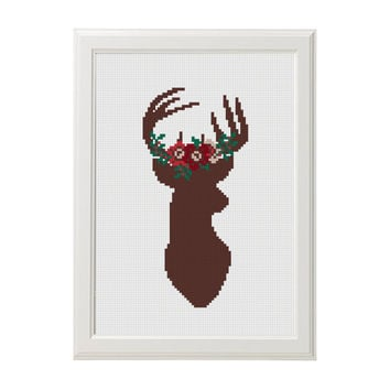 Cross Stitch pattern Deer Cross stitch Floral Antler theme cross stitch Home Decor Modern cross stitch Sign Animal Wall Embroidery scheme