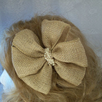 Toddler bow Wedding Burlap bow Adult burlap hair bow 5 inch hair bow on covered clip or french barrette