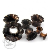 Lotus Flower Sono Wood Tunnel Plugs (0G - 1 Inch) | UrbanBodyJewelry.com
