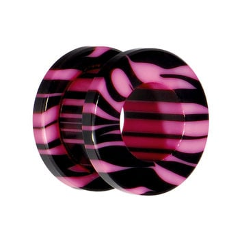 00 Gauge Pink and Black Zebra Striped Acrylic Threaded Tunnel