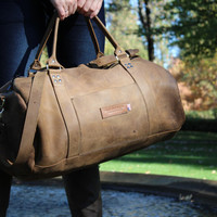 Rimini Distressed Tan Leather Duffel .