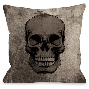 """Skull Grunge"" Indoor Throw Pillow by OneBellaCasa, 16""x16"""