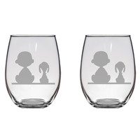 Charlie Brown and Snoopy Engraved Glasses Peanuts Charlie Brown Gift