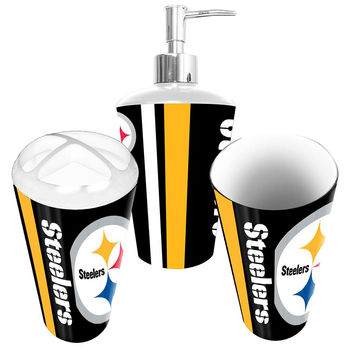 Pittsburgh Steelers Nfl Bath Tumbler Toothbrush Holder Soap Pump 3pc Set