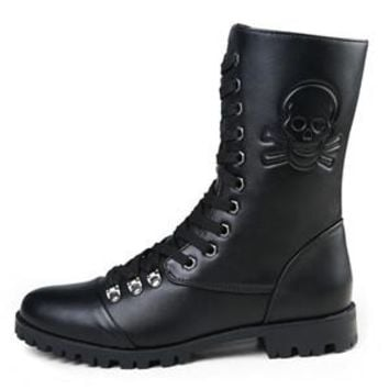 New Fashion Brand Skull Zip Martin Boots Winter England Style Fashionable Men's Short Black Motorcycle Mid-Calf Boots J647 - Black, 8.5