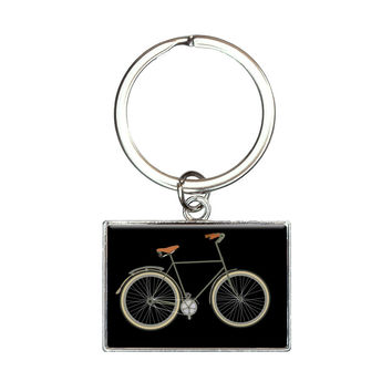 Fixed Gear Bicycle Rectangle Keychain