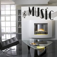 Music Words Musical Notes Vinyl Wall Art Decal Sticker