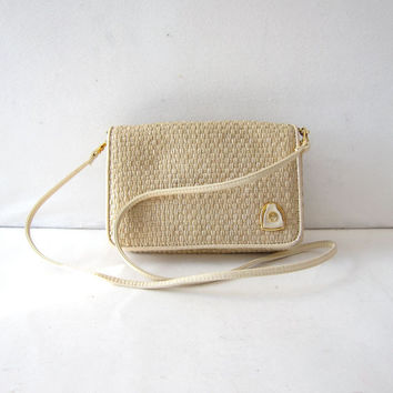 vintage Etienne Aigner purse. Wicker crossbody purse. Preppy minimalist bag.