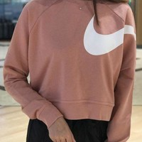 DCCKBA7 Nike Long Sleeve Cropped Sweatshirt In Pink