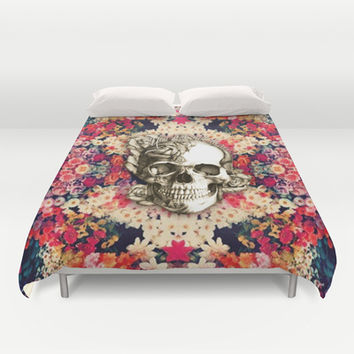 You are not here Day of the Dead Rose Skull. Duvet Cover by Kristy Patterson Design