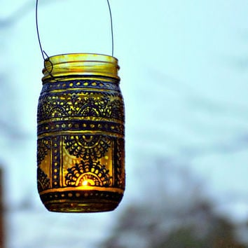 Hand Painted Mason Jar Lantern, Canary Yellow Tinted Glass with Black Accents