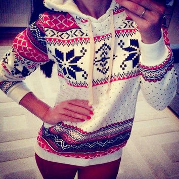 Women Hoodie Sweatshirt Jumper Sweater Pullover Top Coat Christmas Hoody 2Colors = 1945979012