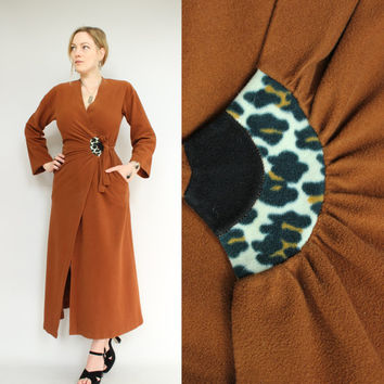 SALE - 60s/70s - Vanity Fair - Brown Leopard Print - Fuzzy - Wrap Tie - Belted - Long Robe - Lingerie