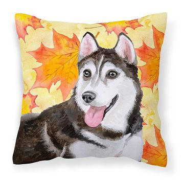 Siberian Husky #2 Fall Fabric Decorative Pillow BB9973PW1414