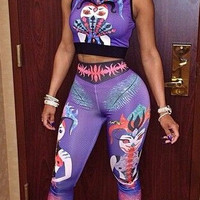 Purple Joker Print Cropped Top and Pants