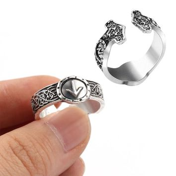 Hd picture Norse Viking Rune Ring Punk Vintage Antique silver Opening Thor's Hammer Amulet Men Opening Ring Viking Gift