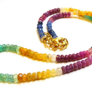 Micro faceted Multi color sapphire necklace finished in gold, choker,  Rainbow hues - ruby, emerald, blue & yellow sapphire bead  necklace