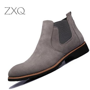 New 2017 Men Chelsea Boots Pointed Toe Men Suede Spring Autumn Desert West Fashion Ankle Casual Men Boots Big One Yard