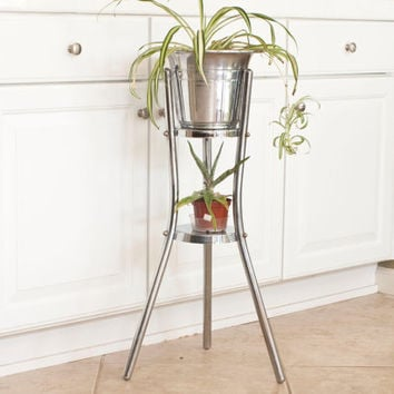 Vintage Chrome Champagne Bucket with Stand, Swanky Barware Atlas Metal Spinning Ice Bucket or Plant Stand, Made in California
