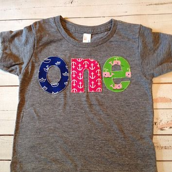 one Birthday Shirt girls 1st birthday navy blue skull cross ones pirate jolly rogers anchors red white chevron on Triblend grey tshirt
