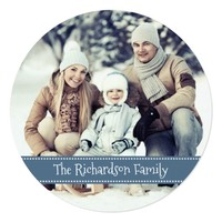 Blue Round Photo Holiday Flat Card