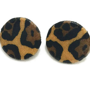 Leopard Print Wooden Disc Earrings