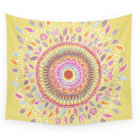 Society6 Yellow Sunflower Mandala Wall Tapestry