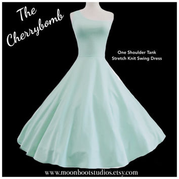 Mint Green ROCKABILLY One Shoulder Tank Dress, Asymmetrical Mod Bridesmaid, Stretch Knit Party Dress, Pin Up Rockabilly Special Occasion