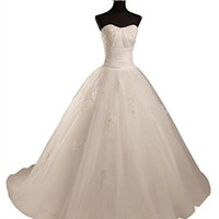 Mic Dresses Princess Strapless A-line Wedding Dress Formal Party Dress for Women