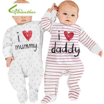 Newborn Baby Romper Long Sleeves Cotton Baby Pajamas I love mummy & daddy Baby Costume Girls Boys Striped Jumpsuit Baby Clothes