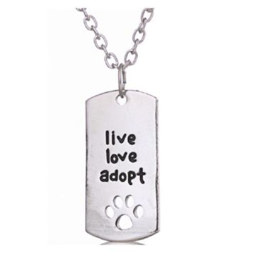 """Silver Plated Rectangular Dog Tag Style Pendant Necklaces"""" Live Love Adopt"""" Pet Rescue Paw Print Tag"""