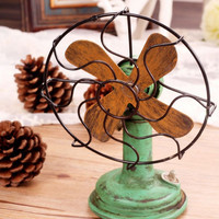 Style Home Decor Vintage Weathered Decoration Fan [6283580358]