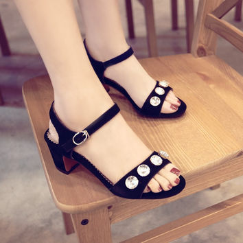 Stylish Design Summer Korean Leather Shoes High Heel Sandals [4920290372]