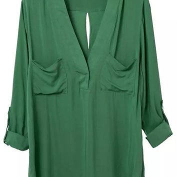 Green Pockets Cross Back Long Sleeve Blouse