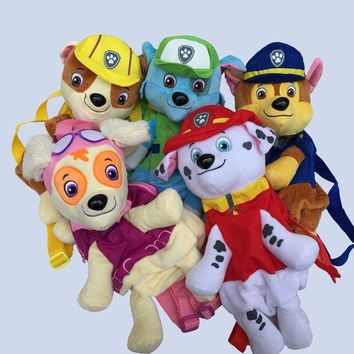 DCCKL72 Cute Cartoon Puppy Patrol Plush Backpack 40CM, Puppy Dog Patrol Anime Figure Juguetes Kids Toy