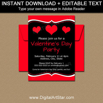 Valentine Invitations - Valentines Day Party Decorations - Valentines Day Sign Printable - Valentine Hearts Invitation - Valentine Invite V6