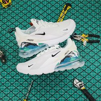 Nike Air Max 270 White/back/blue Running Shoes - Best Online Sale