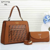 Fendi tide brand female color matching double F embroidery letter wild shoulder bag Messenger bag two-piece #6