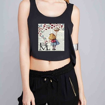 Alice in Wonderland Madhatter Chershire Cat for Crop Tank Girls S, M, L, XL, XXL *07*